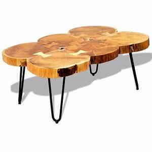 Table Basse Tronc : acheter table basse table d 39 appoint en bois massif sheesham 35 cm 6 troncs pas cher ~ Teatrodelosmanantiales.com Idées de Décoration