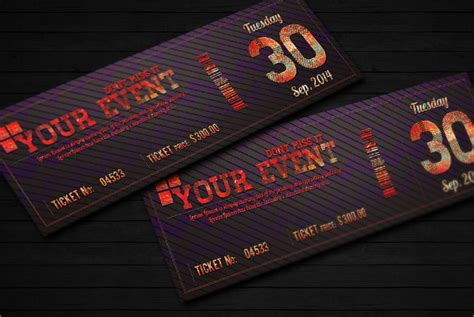 ticket template   documents   psd