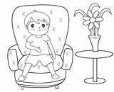 Sofa Coloring Boy Sitting Illustration sketch template