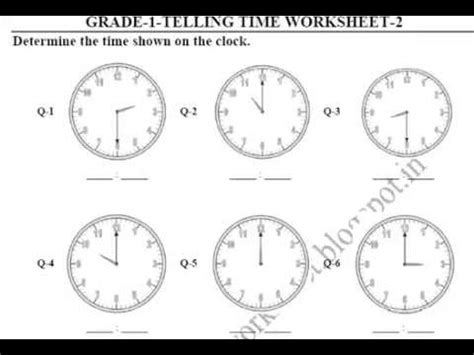 grade 1 telling time printable worksheets youtube