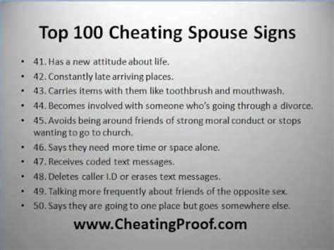 signs your spouse is 100 cheating spouse signs youtube