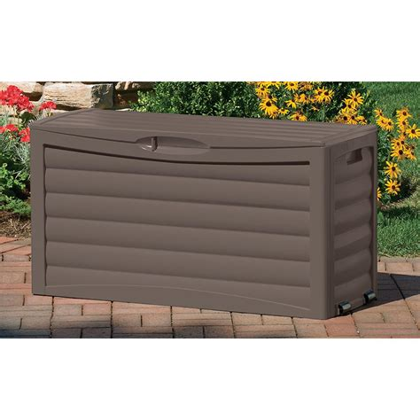 suncast deck boxes canada suncast 174 63 gallon patio storage box 138440 patio
