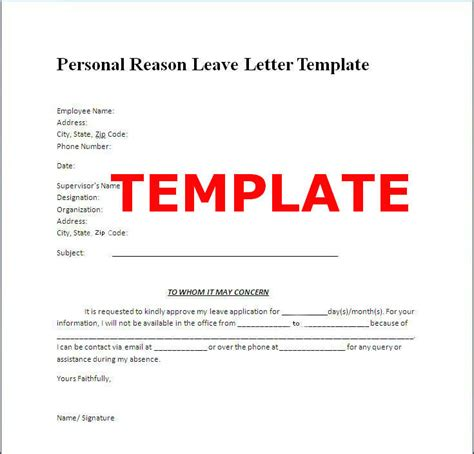 personal leave of absence letter proper personal leave of absence letter letter format 8352