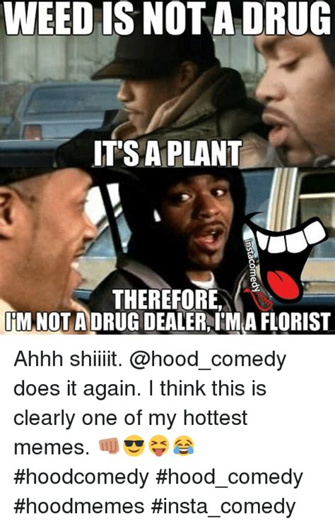Memes Hood - weed is not a drug it s a plant therefore im not a drugdealeraim a florist ahhh shiiiit does it