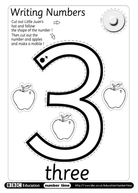 numbertime print do writing numbers three