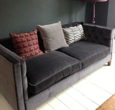 Velvet Loveseat Sofa by Grey Velvet Sofa