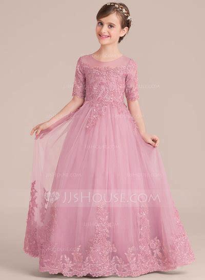 ball gown floor length flower girl dress tullelace