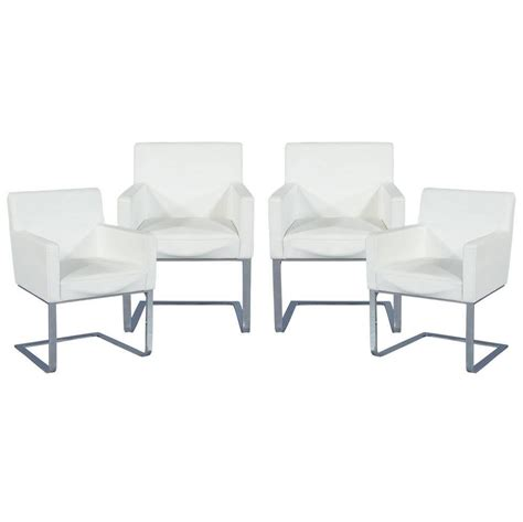 set of four modern white leather cantilever chairs at 1stdibs