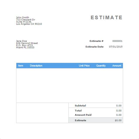 blank estimate template   word pdfexcelgoogle