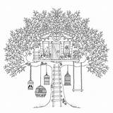 Coloring Treehouse Pages Tree Adult Birds Adults Boomhutten Colouring Houses Garden Bird Printable Sheets Children Treehouses Fun Books Secret Kleurplaten sketch template