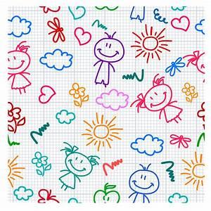 シームレスな子供の落書き背景 hand drawn kid pattern イラスト素材 | ai eps イラストレーター
