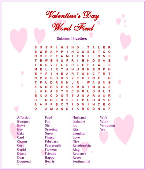 top 5 valentines word search easy