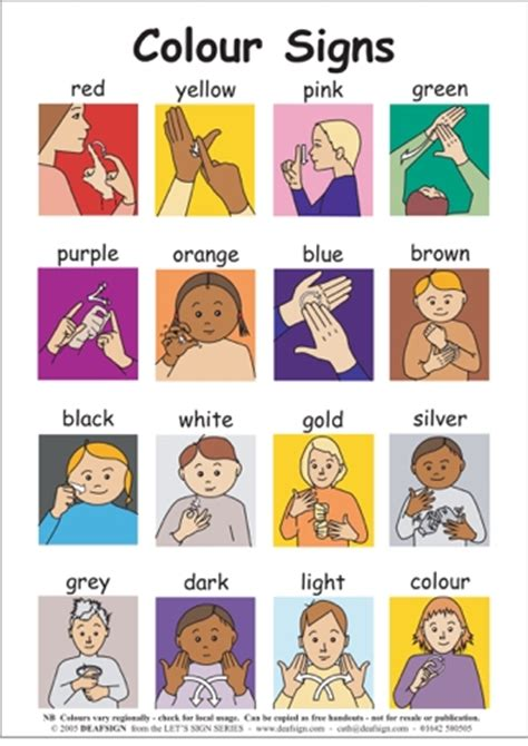 sign language for colors colours teaching ideas