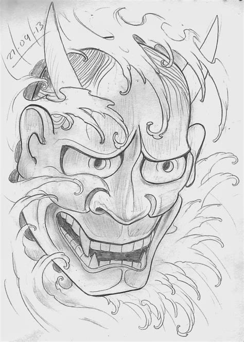 Tattoo Sketch A Day: Japanese Masks September 22nd - 30th