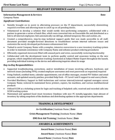 help desk resume exles help desk support resume sle template