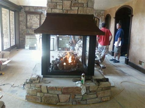 custom  sided gas fireplace dream home pinterest