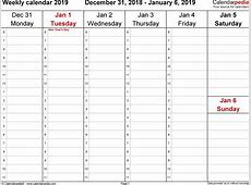 Weekly calendar 2019 for Word 12 free printable templates