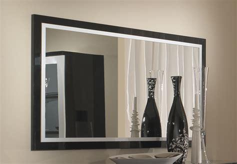 salle de bain avec meuble de cuisine miroir roma laqué bicolore noir blanc l 140 x h 85