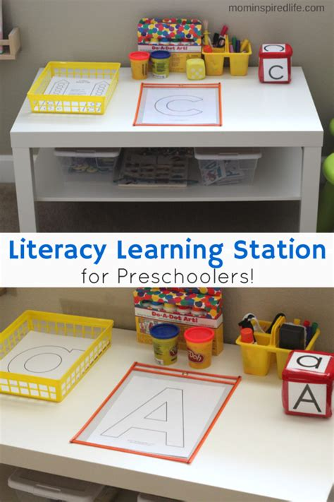 literacy learning station for preschoolers preschool 3 5 143 | a373659fcfb68aaa3fca28e3caf1003f