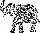 Elephant Mandala Adults Coloring Pages Easy Svg Printable Simple Drawing Adult Animal Colour Animals Books Cuttable Alabama sketch template