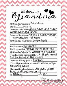 Mother's Day Questionnaire Grandma Who Arted 02 | holiday ...