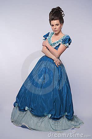 fashioned girl  blue dress stock  image