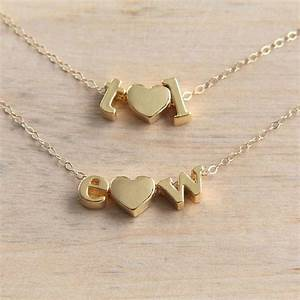 heart necklace gold letter necklace love necklace With dainty letter necklace