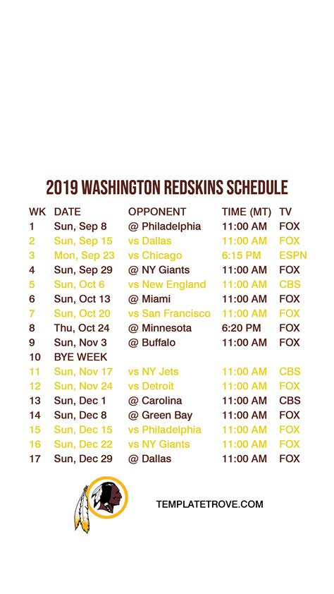 washington redskins lock screen schedule