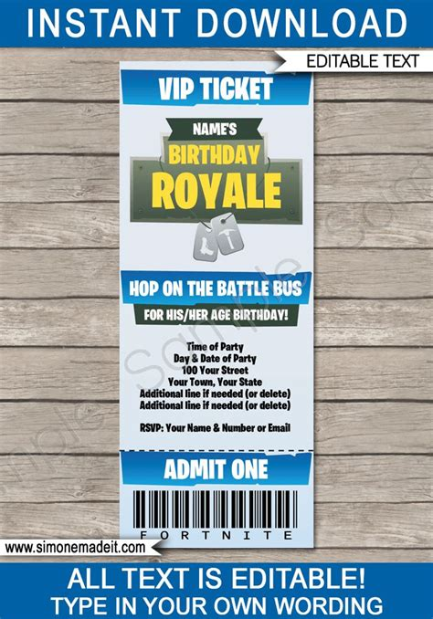 fortnite party ticket invitation template blue