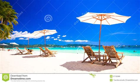 Beach Chairs On Exotic Tropical White Sandy Beach Royalty