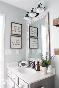bathroom wall decor ideas Modern Farmhouse Bathroom Makeover Reveal