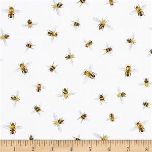 Everday Favorites Bees White - Discount Designer Fabric