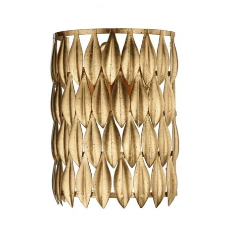 gold wall light with leaf design pull cord switch double