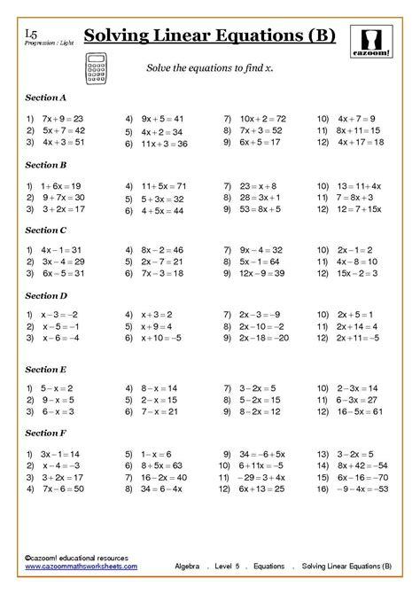solving equations worksheets ks4 algebra with cazoom maths algebra algebra