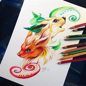 Flareon and Leafeon by Lucky978 on DeviantArt