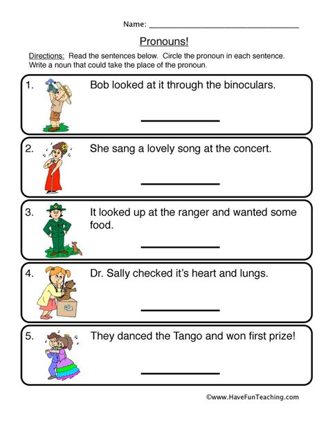 First Grade Pronoun Worksheets For Circle First Best Free Printable Worksheets