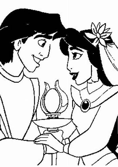 Coloring Disney Princess Pages Jasmine Aladdin Valentine