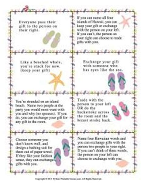 beach party gift exchange printable games