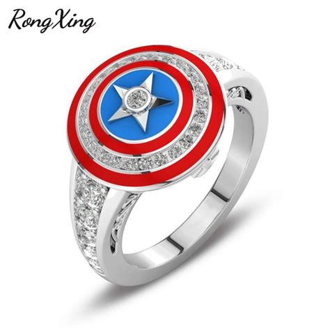 rongxing vintage star finger ring movie captain america shield design chions rings for men