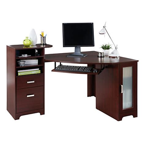 office max computer desk bradford corner desk cherry by office depot officemax