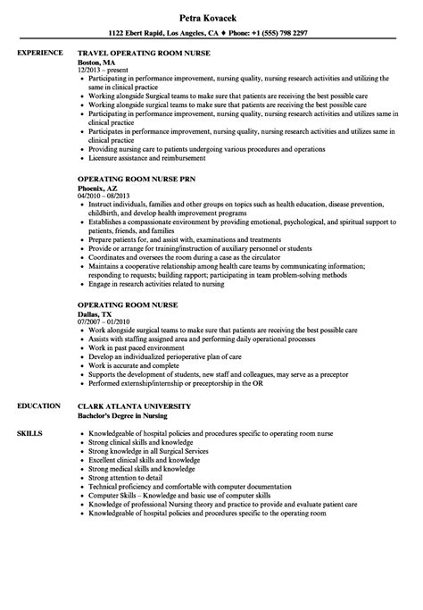 operating room nurse resume sles velvet