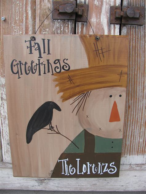 primitive scarecrow personalized autumn fall hand painted