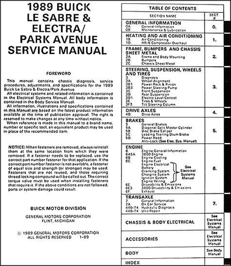 best car repair manuals 1989 buick riviera parking system 1989 buick lesabre electra park avenue repair shop manual original