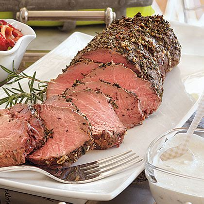 Let beef stand at room temperature 1 hour before roasting. Cold Roasted Tenderloin of Beef & Creamy Horseradish Sauce Recipe | MyRecipes