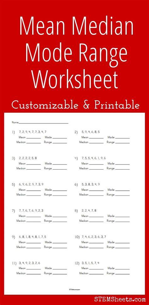 customizable and printable median mode range worksheet math stem resources