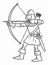 Coloring Pages Medieval Knight Knights Crafts Archery sketch template