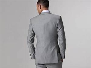 2019 Custom Made Slim Fit Groom Tuxedos Light Grey Side
