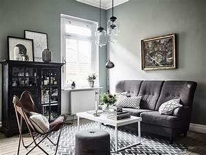 Salon Vert De Gris : d coration salon gris et vert design en image ~ Melissatoandfro.com Idées de Décoration