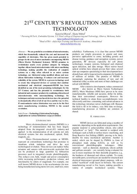 ieee template paper on mems technology