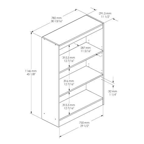standard bookshelf dimensions